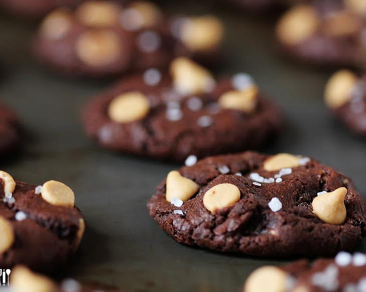 Salted Dark Chocolate Peanut Butter Cookies {great food blogger cookie swap}