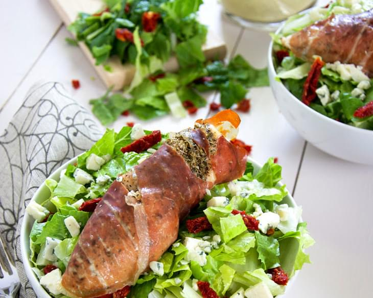Prosciutto Wrapped Chicken and Sun Dried Tomato Salad with Blue Cheese Vinaigrette