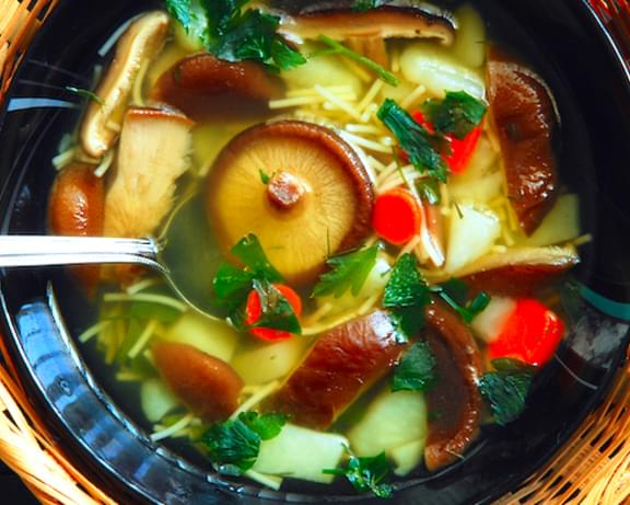 Asian Noodle Soup with Baby Bok Choy and Mushrooms