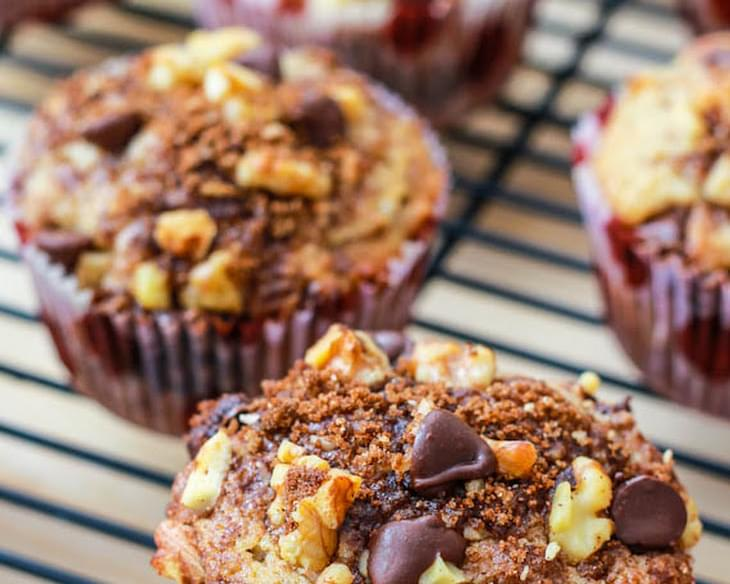 Banana Chocolate Chip Muffins with Cinnamon Streusel