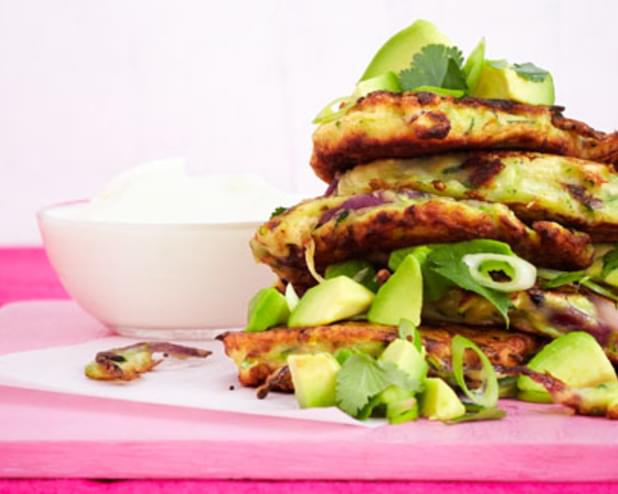Courgette And Red Onion Cakes With Avocado Salsa