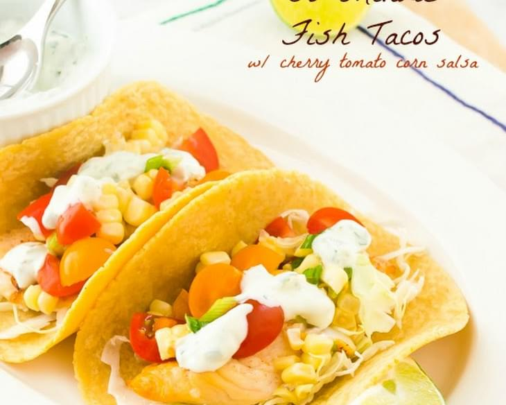 Healthy 30-Minute Fish Tacos with Cherry Tomato Corn Salsa