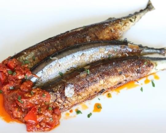Pan-Fried Mackerel (or Sardines) with Spicy Tomato Sauce