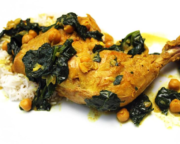 Indian Spiced Chicken Legs with Chick Peas & Spinach