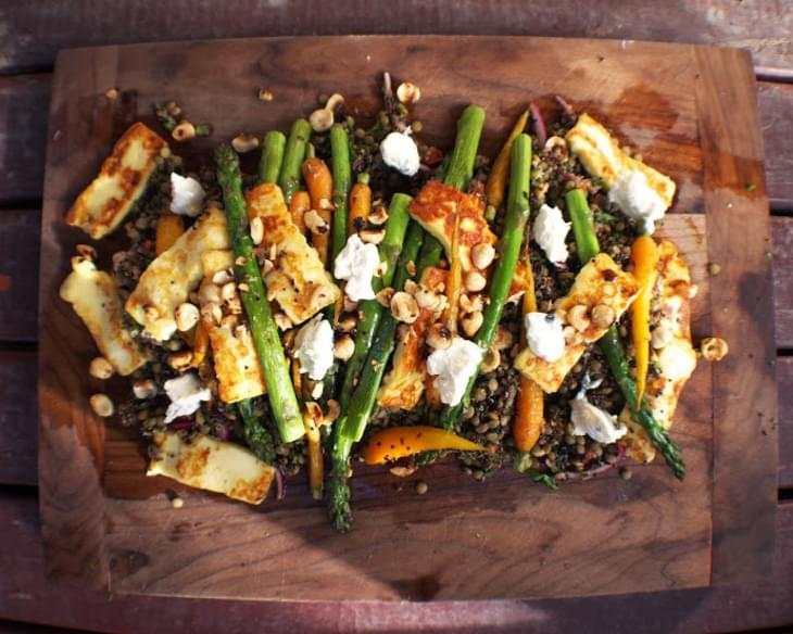 Puy Lentil, Quinoa And Haloumi Salad With Baby Carrots And Asparagus