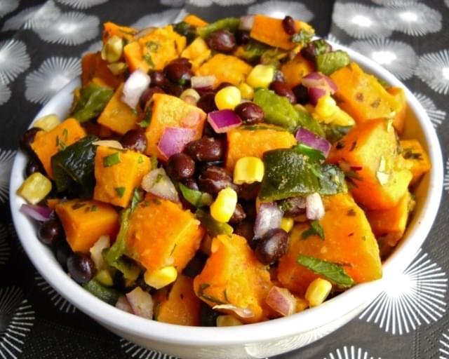 Roasted Poblano and Sweet Potato Salad