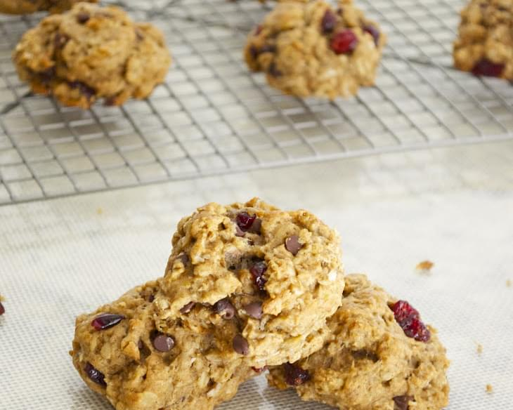 Oatmeal Banana Brookies with Chocolate and Cranberries