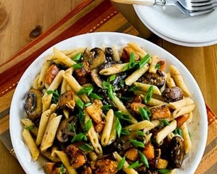 Vegetarian Penne Pasta with Butternut Squash, Mushrooms, Scallions, and Goat Cheese