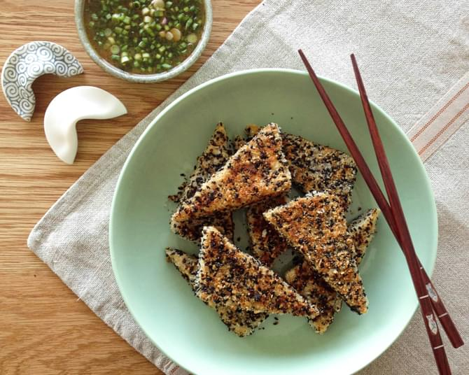 Coconut Sesame Crusted Tofu with Orange Honey Soy Dressing