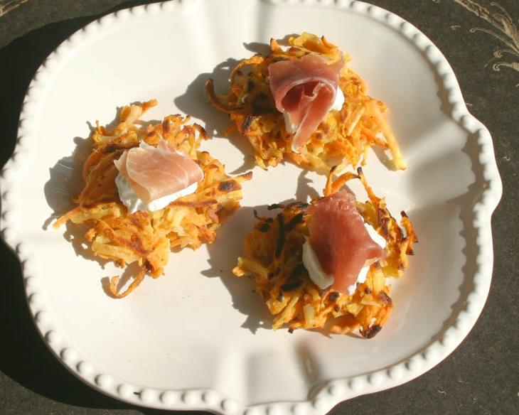 Sweet & White Potato Pancakes with Greek Yogurt and Smoked Salmon