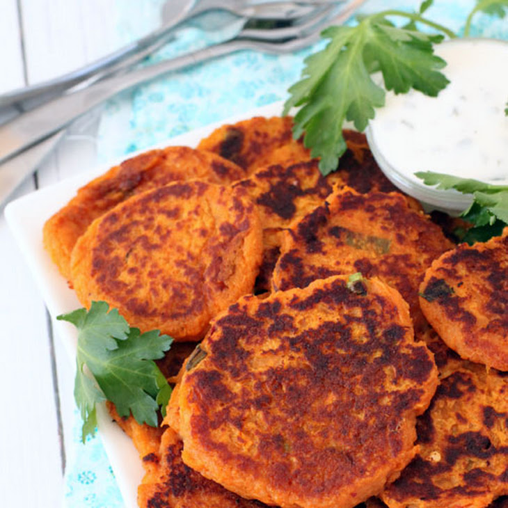 Spicy Sweet Potato Fritters with Sour Cream Dipping Sauce Recipe