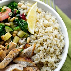 Chicken & Toasted Quinoa Bowls with Garlic-Sauteed Veggies and Pine Nuts