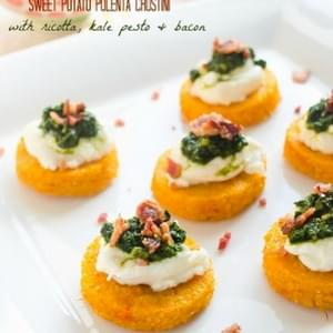 Sweet Potato Polenta Crostini with Ricotta, Kale Pesto, and Bacon