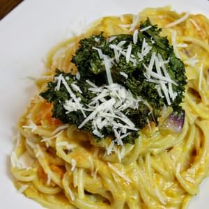 Pasta With A Light Sweet Potato Cream Sauce And Kale Chips