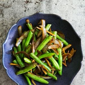 Stir-fried Green Beans And Mushrooms Over Rice Recipe