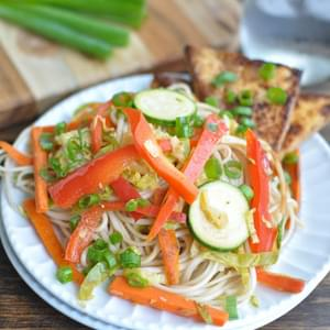 Udon Noodle Stir Fry with Honey Ginger Tofu