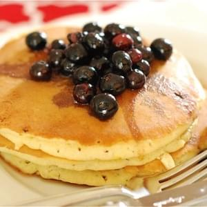 Lemon Cream Cheese Pancakes with Blueberry Maple Syrup