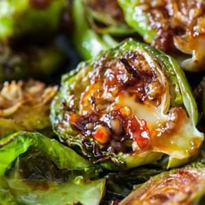 Roasted Brussels Sprouts with Sweet Chili Sauce