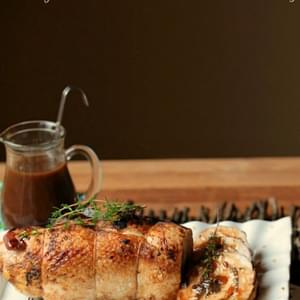 Healthy Turkey Roulade with Mushroom Stuffing and Blueberry Thyme Gravy #sundaysupper