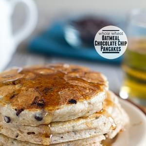 Whole Wheat Oatmeal Chocolate Chip Pancakes