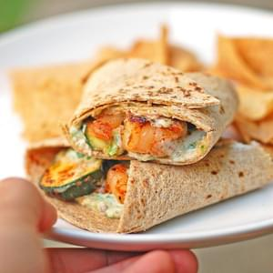 Garlic Shrimp and Zucchini Wrap