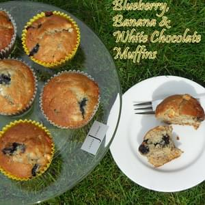 Blueberry, Banana and White Chocolate Muffins