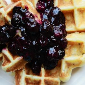 Lemon, Ricotta And Chia Seed Waffles With Blueberry Sauce, For One {gluten Free}