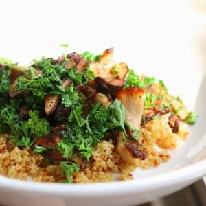 Butter and Vinegar Infused Mushrooms, Quick Crispy Quinoa and Crispy Parsley