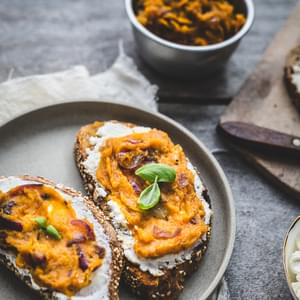 Caramelised Onion, Squash and Ricotta Tartines