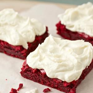 Red Velvet Brownies with White Chocolate Buttercream Frosting