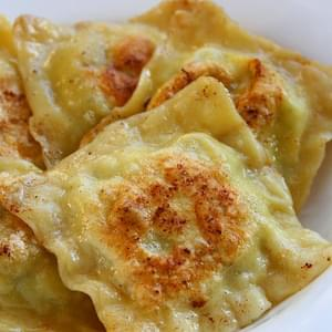 Goat Cheese Potato Ravioli with Garlic and Dill