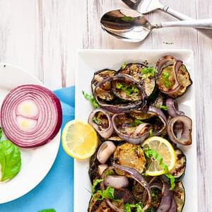 Grilled Zucchini & Red Onion with Lemon-Basil Vinaigrette