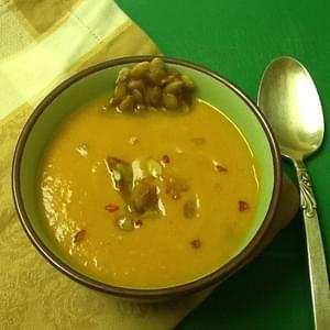 Creamy Gluten-Free Vegan Pumpkin Soup with Smoky Maple Pepita Brittle