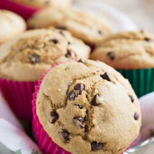 Fluffy Whole Wheat Blend Chocolate Chip Muffins
