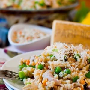 Israeli Couscous with Chicken and Peas