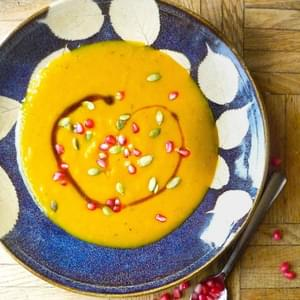Kabocha Squash Soup with Pomegranate and Pepitas