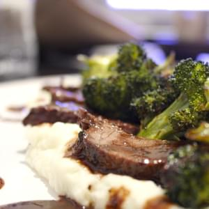 Red Wine Braised Beef with Blue Cheese Mashed Potatoes and Broccoli