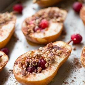 Baked Pears with Honey, Cranberries and Pecans