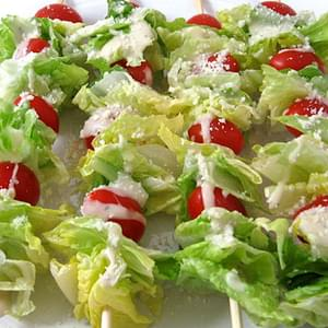 Super Low Calorie Caesar Salad on a Stick