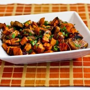 Roasted Sweet Potatoes and Mushrooms with Thyme and Parsley