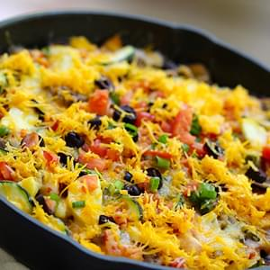 Cheesy Skillet Bean & Veggie Taco Meal