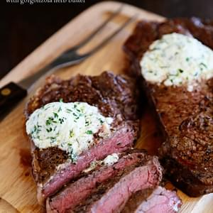 Skillet Steaks with Gorgonzola Herb Butter