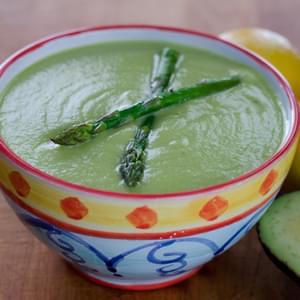 Roasted Asparagus Avocado Soup