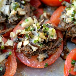 Roast Beef Mushrooms and Swiss Tomatoes