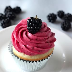 Lemon Cupcakes with Blackberry Buttercream