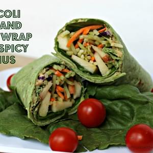 Broccoli Slaw Wrap with Spicy Hummus