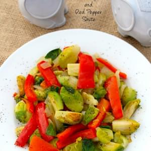 Quick Brussels Sprouts and Red Pepper Sauté
