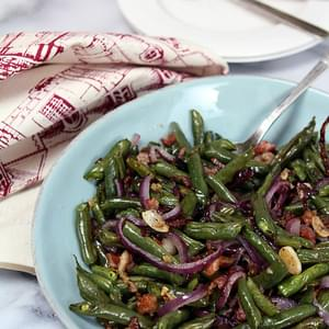 Garlic-Roasted Green Beans with Shallots and Almonds Recipe