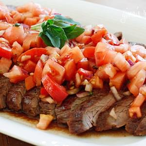 Grilled Flank Steak With Tomatoes, Red Onion and Balsamic