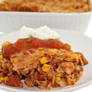 Skinny Mexican Chicken and Brown Rice Casserole